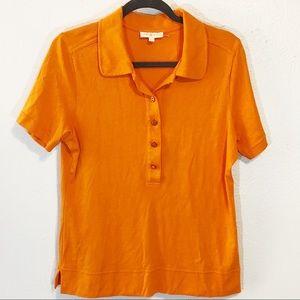 Tory Burch size XL polo type button top orange